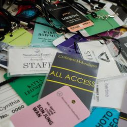 A collection of Cynthia's press passes.