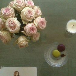 """ubiquitous trio ladurée macaron/dyptique candle/rose bouquet, here at Thakoon, where is the fantasy?""—<a href="""" rel=""nofollow"">@robinschulie</a>"