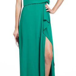 """<b>BCBG MaxAzria</b> Kendal one-shoulder ruffled evening gown, <a href=""""http://www.bcbg.com/product/index.jsp?productId=13005641&cp=2768993&camp=GROUP%3A1230_DROP%3ASO%3ADRESSES&parentPage=family"""">$298</a>"""