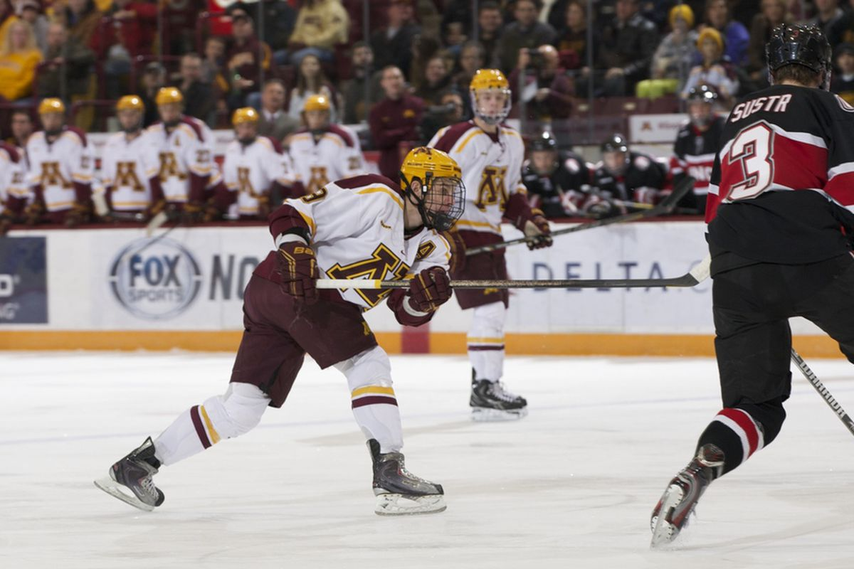 Erik Haula had two goals to lead the Gophers past St. Cloud Friday night.