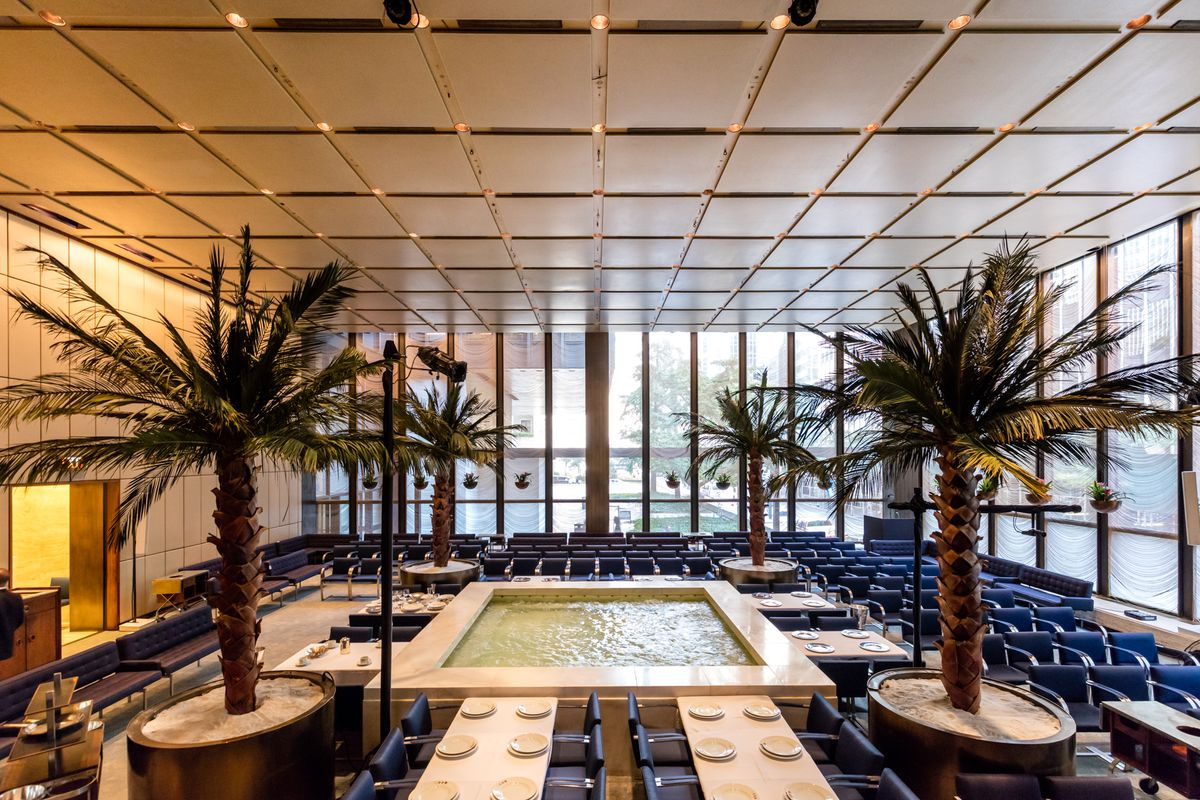 the pool room of the four seasons will give way to a modern japanese influenced seafood restaurant called the pool photography by max touhey - Midcentury Restaurant Interior