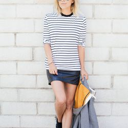 """Jacey of <a href=""""http://damselindior.com""""target=""""_blank"""">Damsel in Dior</a> is wearing a Heidi Merrick shirt, an All Saints leather skirt, an O'2nd jacket and Nike shoes."""