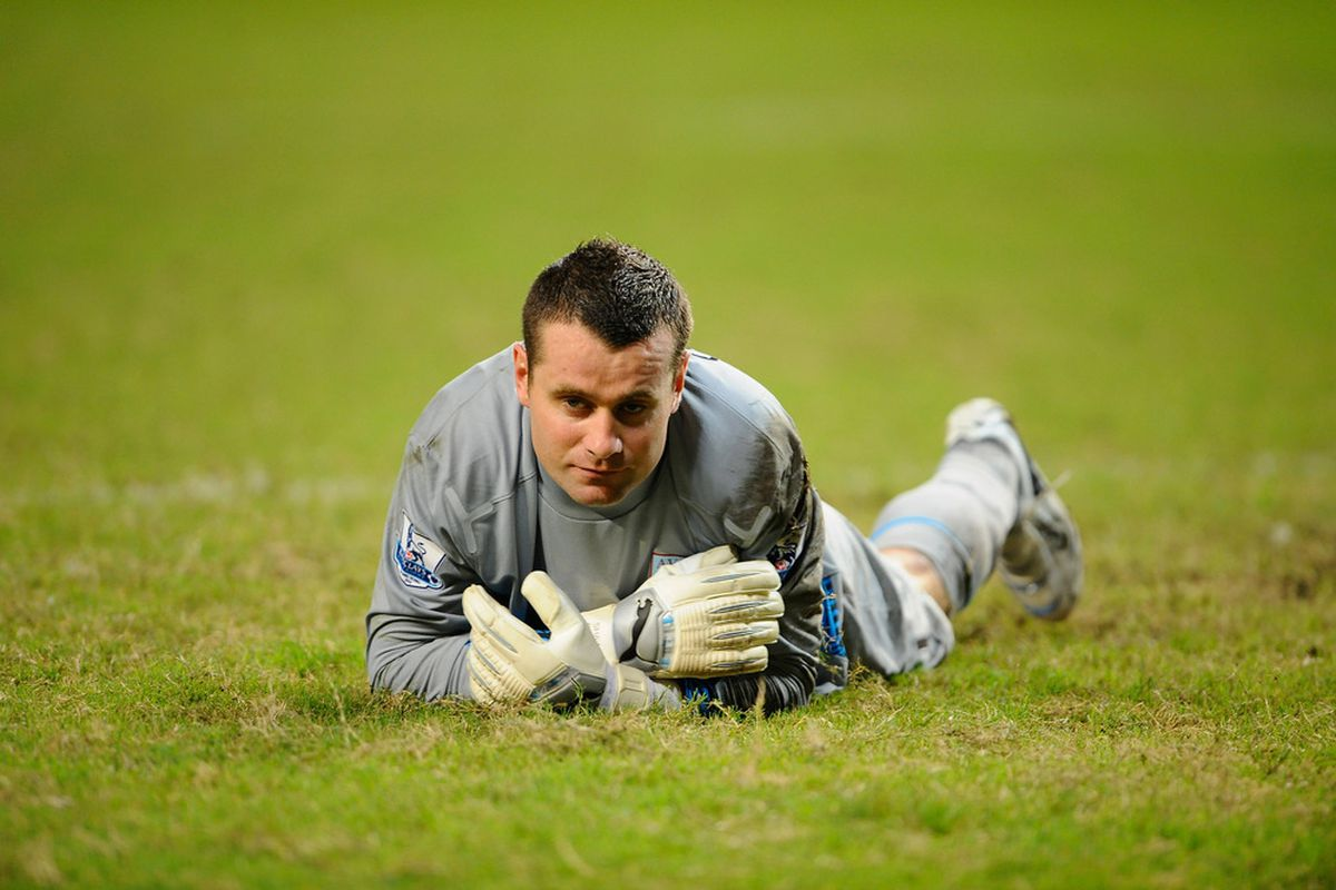 The less often we see Shay Given doing this the better.  (Photo by Victor Fraile/Getty Images)
