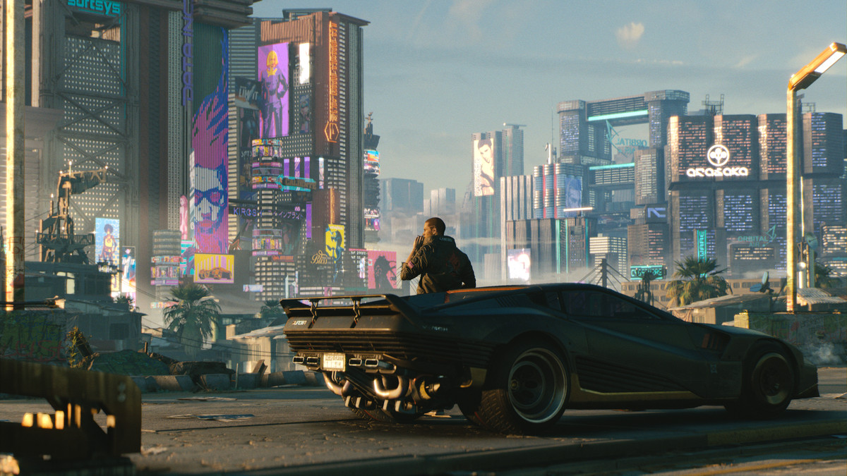 Cyberpunk 2077 - V smokes a cigarette outside his car, looking over Night City