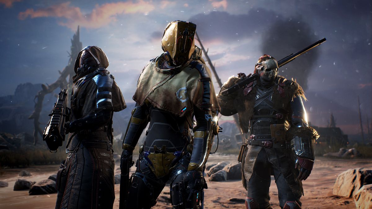 Three armored and armed Outriders stand in front of a grey sky in a screenshot from Outriders