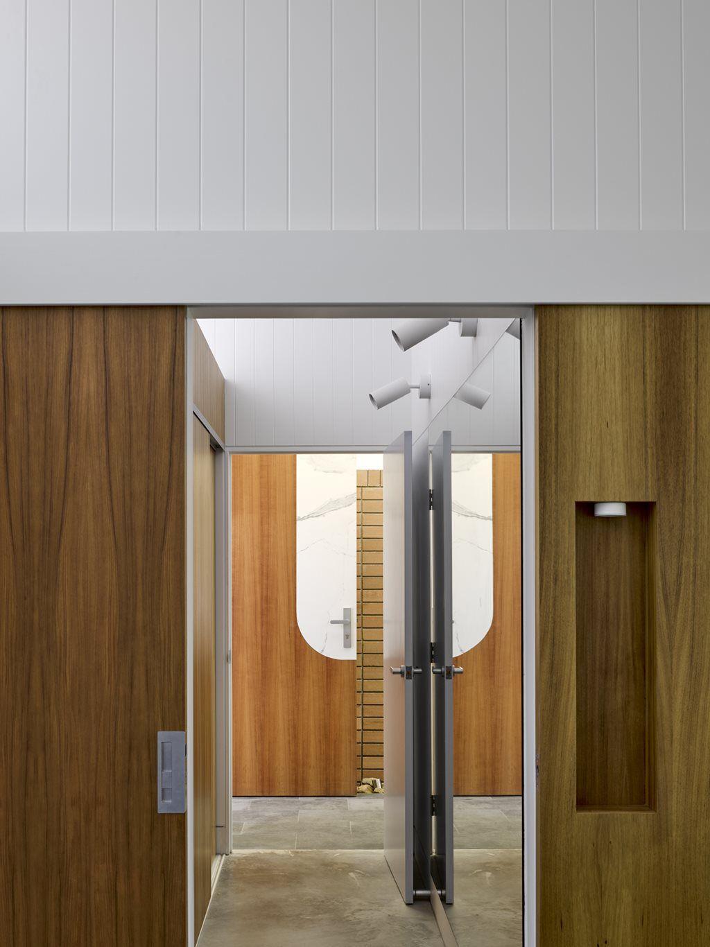 Bathroom with door open