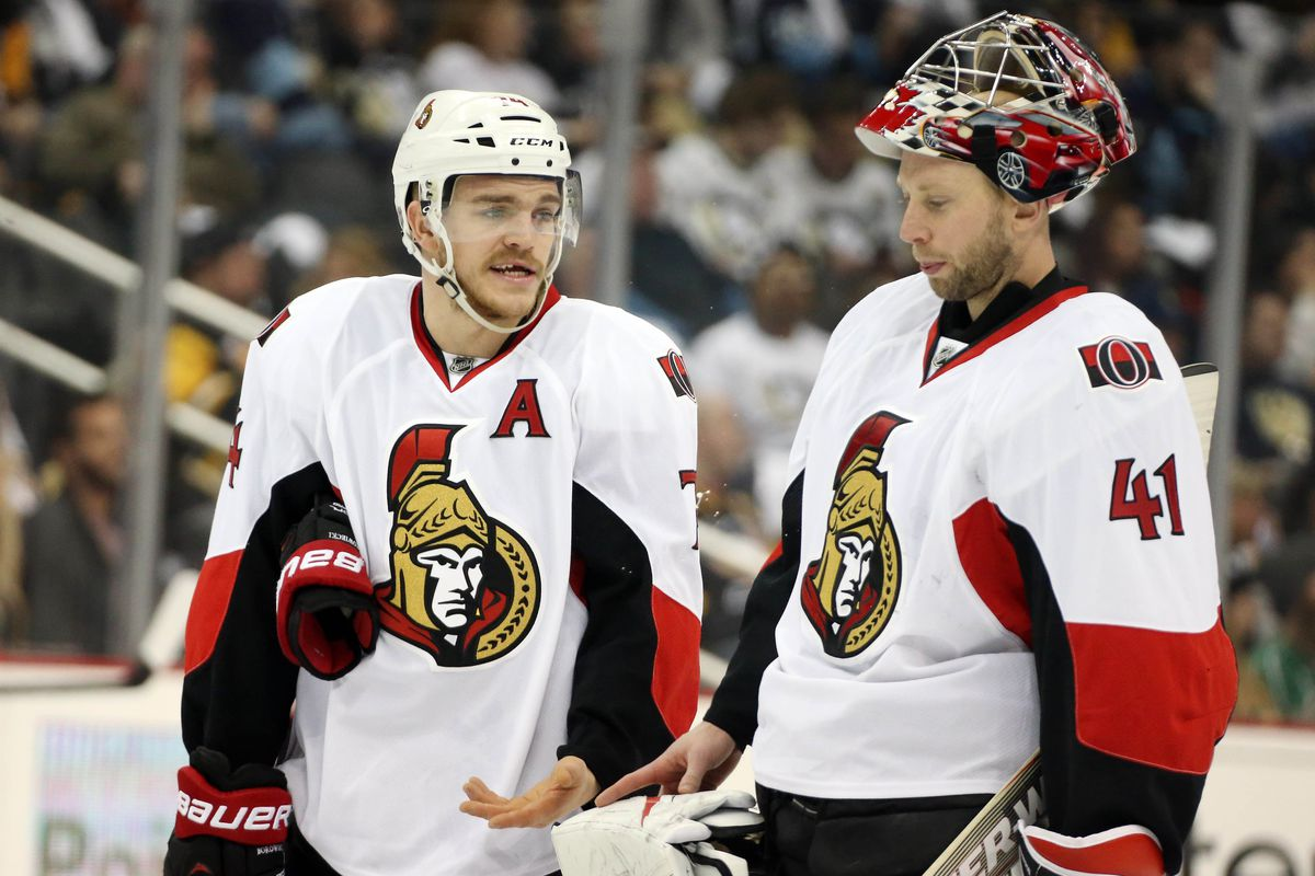Craig Anderson looks crestfallen after finding out Mark Borowiecki only gave him a C+ for the season