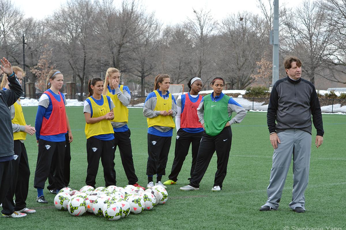 Coach Tom Durkin and team during preseason