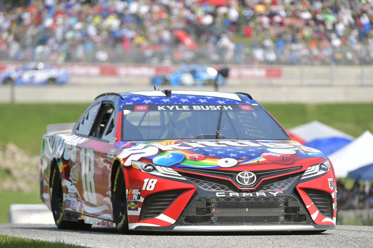 Kyle Busch, driver of the #18 Skittles Red White & Blue Toyota, drives during the NASCAR Cup Series Jockey Made in America 250 Presented by Kwik Trip at Road America on July 04, 2021 in Elkhart Lake, Wisconsin.