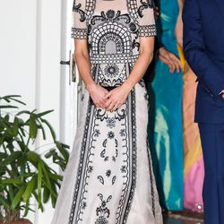 Celebrating the Queen's 90th birthday on April 11th, 2016 in New Delhi, India in a matching Alice Temperley top and maxi skirt.
