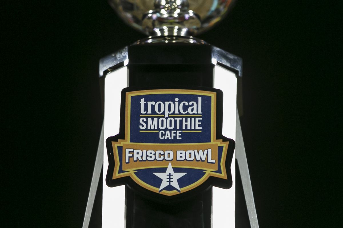 The Tropical Smoothies Cafe Frisco Bowl trophy waits during the game between the Utah State Aggies and the Kent State Golden Flashes on December 20, 2019 at the Toyota Stadium in Frisco, Texas.