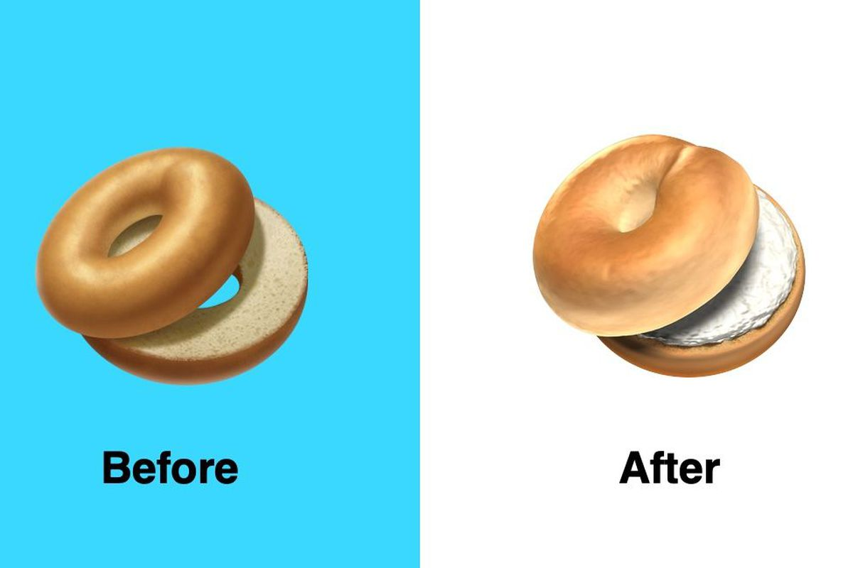apple fixes its bagel emoji with cream cheese and a doughier