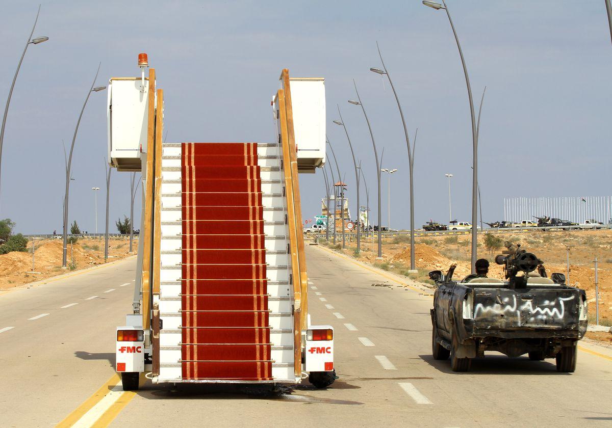 Gaddafi airport stairs
