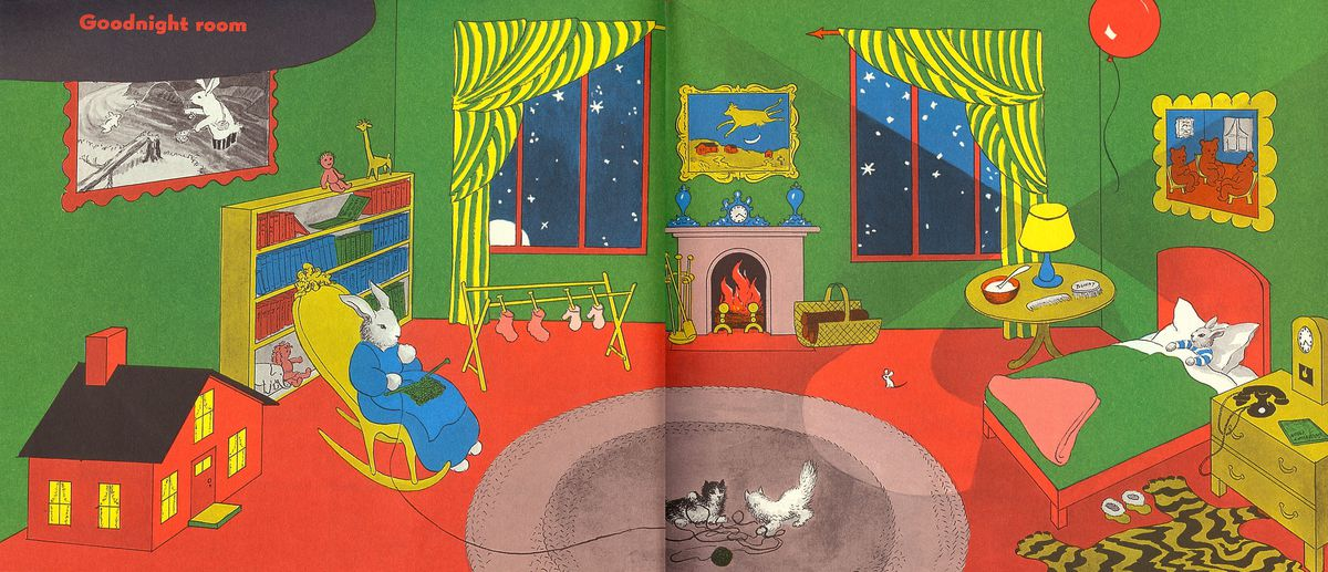 An illustration of a rabbit sitting in a rocking chair in a room with bright green walls, red carpet, a red dollhouse on the floor, a fireplace, green and yellow striped curtains over two windows, and a bed with green bedsheets and a red bedframe.