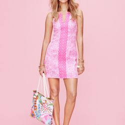 'See Ya Later' shift dress, $38; charm bracelets in gold, $20 each; 'Nosie Posey' tote, $18, pineapple sandals in gold, $30