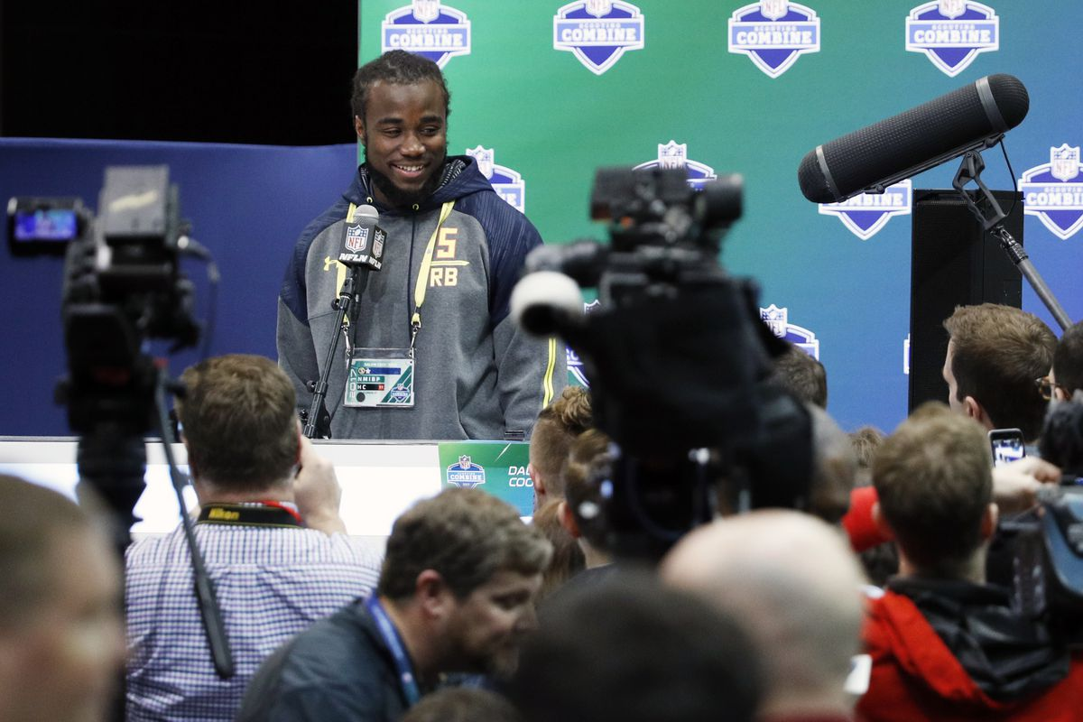 Florida State running back Dalvin Cook meets with the media at the NFL Combine