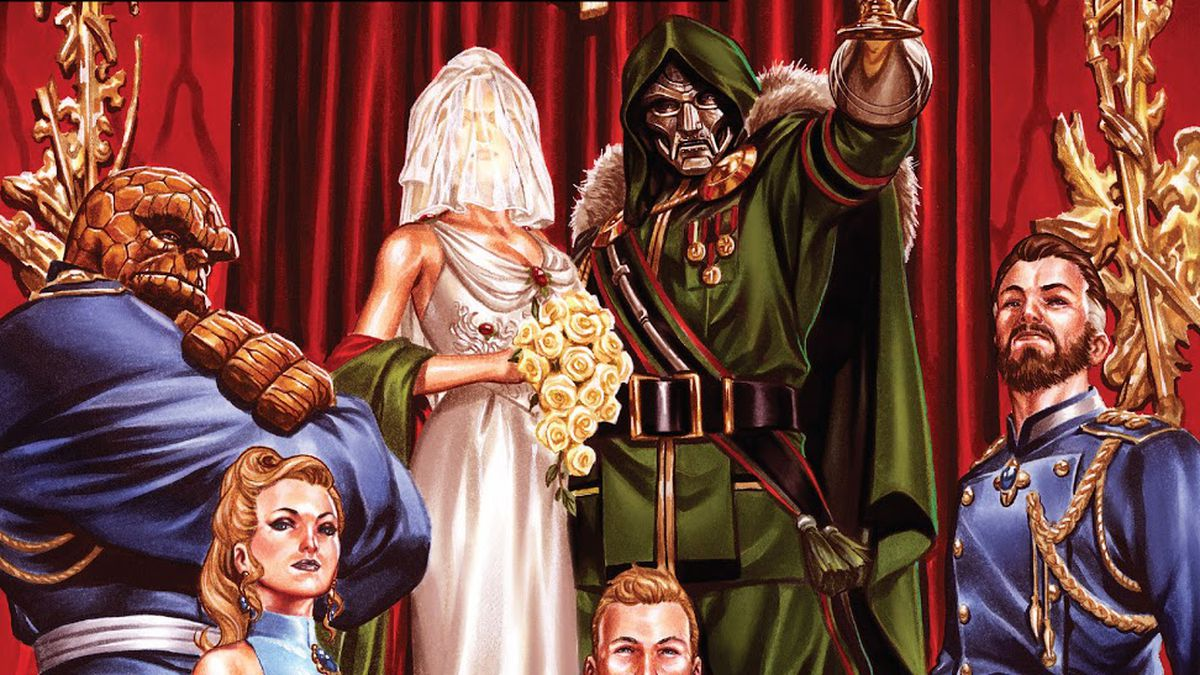 The Fantastic Four in formal dress at the wedding of Doctor Doom, from the cover of Fantastic Four #33, Marvel Comics (2021).