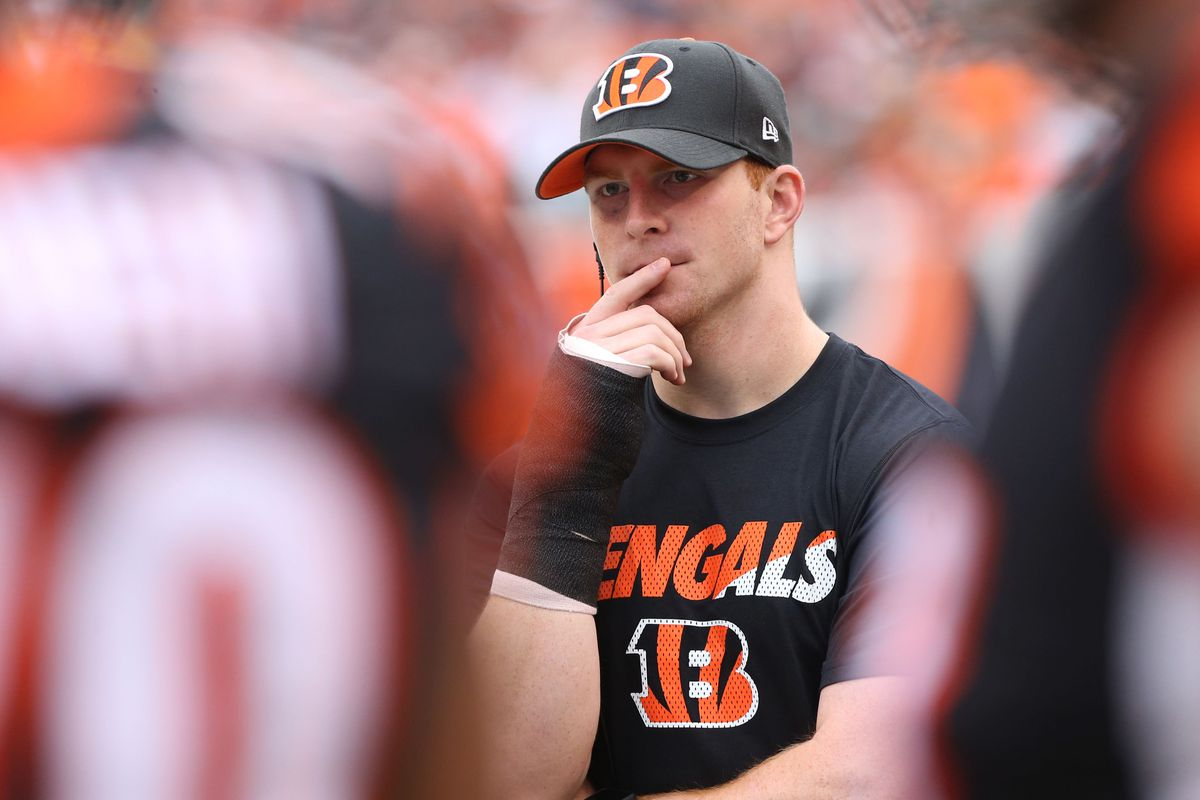 Andy Dalton is thinking about something.