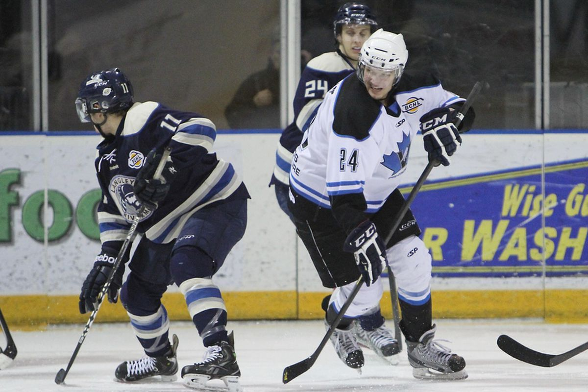 Penticton Vees forward Jedd Soleway (white, #24) is your newest Badger commit