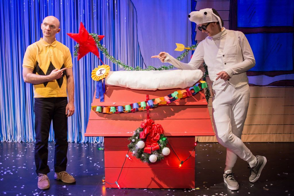 """Jason Groff (Charlie Brown) and Jesse Dornan (Snoopy) in """"A Charlie Brown Christmas"""" at the Broadway Playhouse at Water Tower Place. 