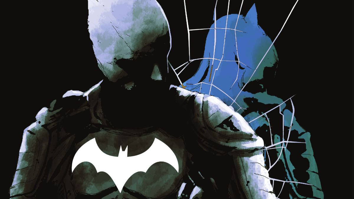 Batman looks over his shoulder at his own shattered reflection on the cover of Batman: Imposter #1 (2021).