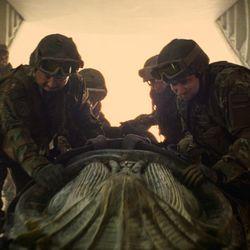 "Annabelle Wallis as Jenny Halsey (ANNABELLE WALLIS) supervises transport in ""The Mummy."""