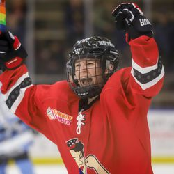 Metropolitan Riveters forward Harrison Browne celebrates a goal against his former team, the Buffalo Beauts, during a NWHL game on Nov. 18th, 2017 at HarborCenter in Buffalo, NY.