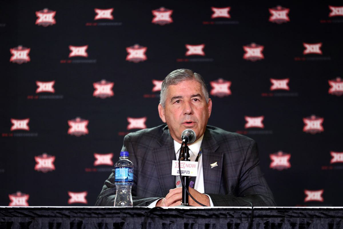 Big Twelve Commissioner Bob Bowlsby speaks to the media to announce the cancellation of the tournnament prior to the Big 12 quarterfinal game at the Sprint Center on March 12, 2020 in Kansas City, Missouri.