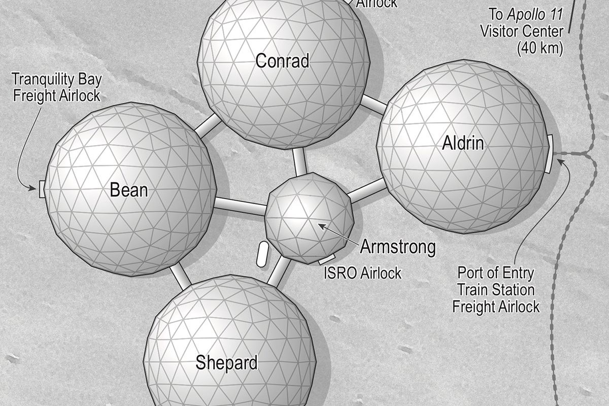 The city of Artemis on the Moon is made up of five connected bubbles, each half underground.