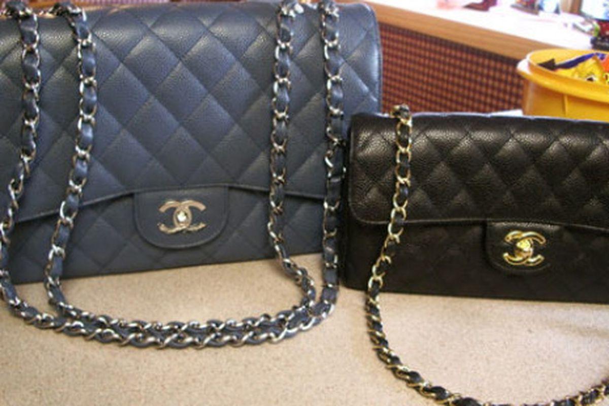 "Image via <a href=""http://handbagcomment.com/designer-handbags/chanel-handbags/comparison-between-chanel-classic-flap-bag-vs-reissue-255.html"">Handbagcomment.com</a>"