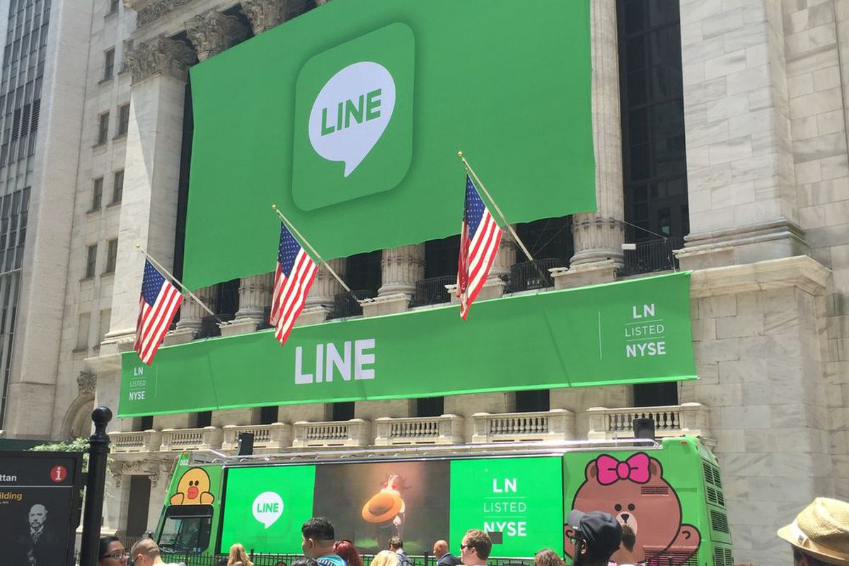 Outside the New York Stock Exchange on the day of Line's IPO
