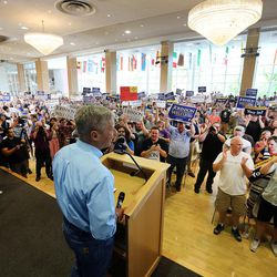 Libertarian presidential candidate Gov. Gary Johnson acknowledges the cheers of supporters as he and running mate Gov. Bill Weld talk at the University of Utah in Salt Lake City on Saturday, Aug. 6, 2016.