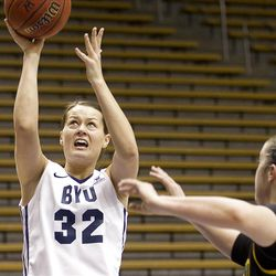 Dani Peterson goes in for a layup in BYU's game against the San Francisco Dons, in the Marriott Center  February 16, 2012