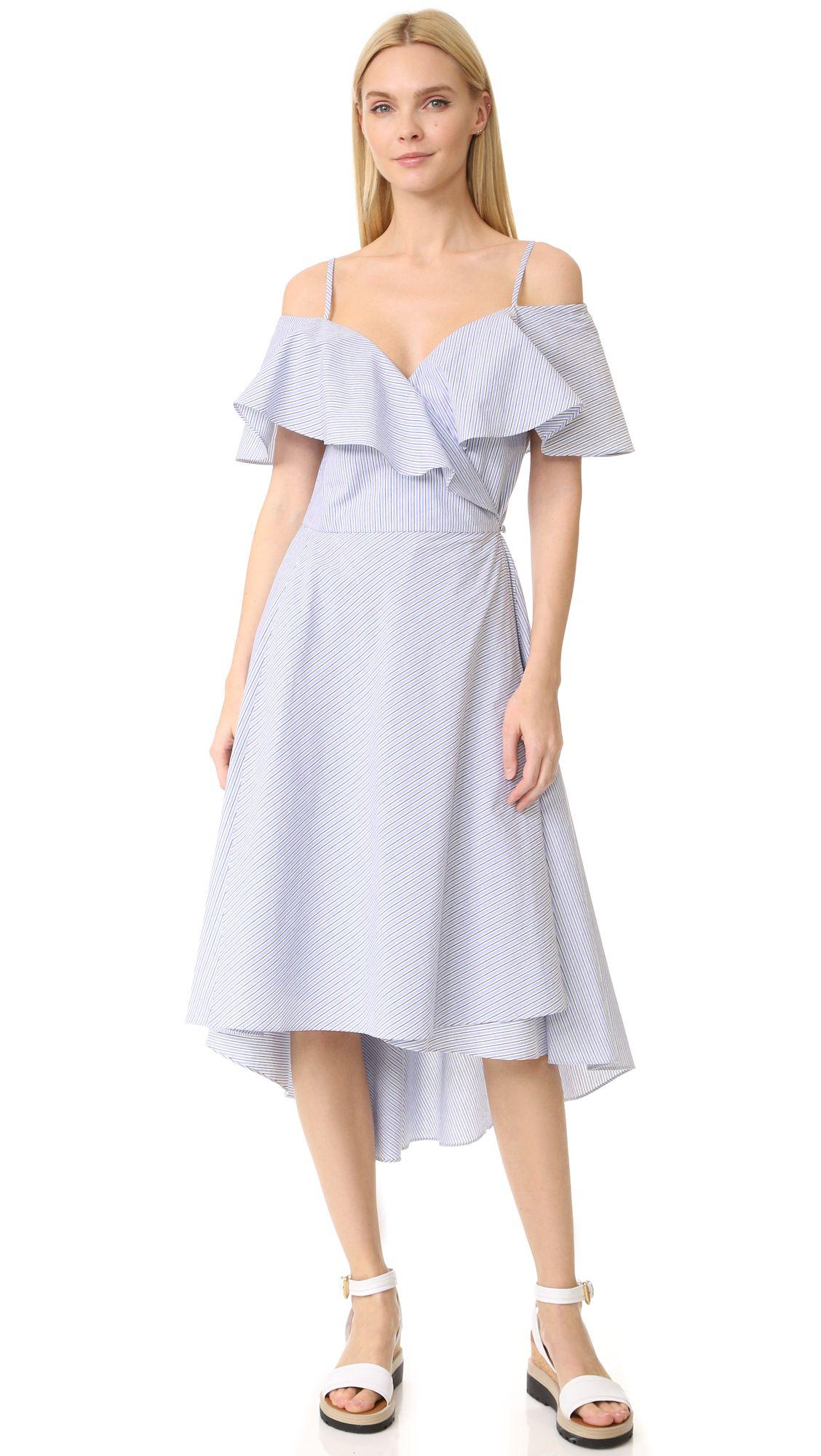 A striped off the shoulder dress