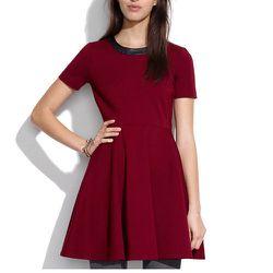 "<b>Madewell</b> Leather-Trim Dress in Dusty Burgundy, <a href=""https://www.madewell.com/madewell_category/DRESSES/waistdefineddresses/PRDOVR~03998/03998.jsp?color_name=dusty-burgundy"">$134.50</a> (from $165)"