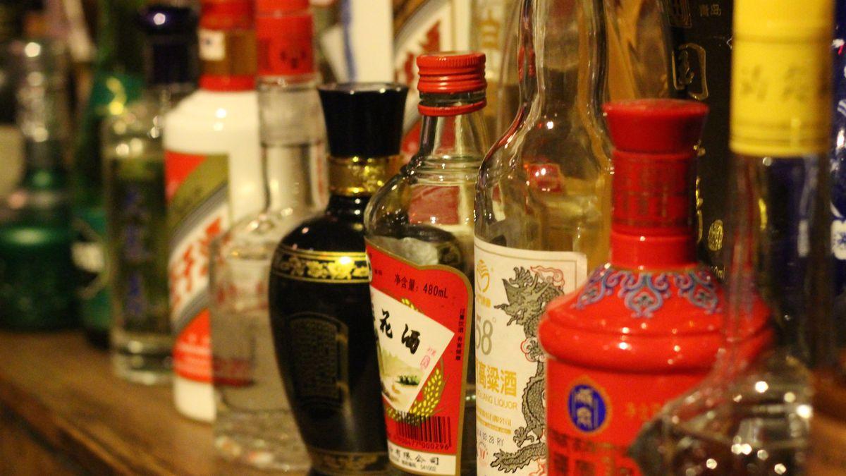 Baijiu bottles inside Capital Spirits.