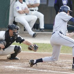 The UConn Huskies baseball team takes on the Holy Cross Crusaders at Fitton Field in Worcester, MA on April 24, 2018.