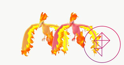 Shiny Moltres with its normal version. Shiny Moltres has a pink-ish body, rather than a golden-orange one.