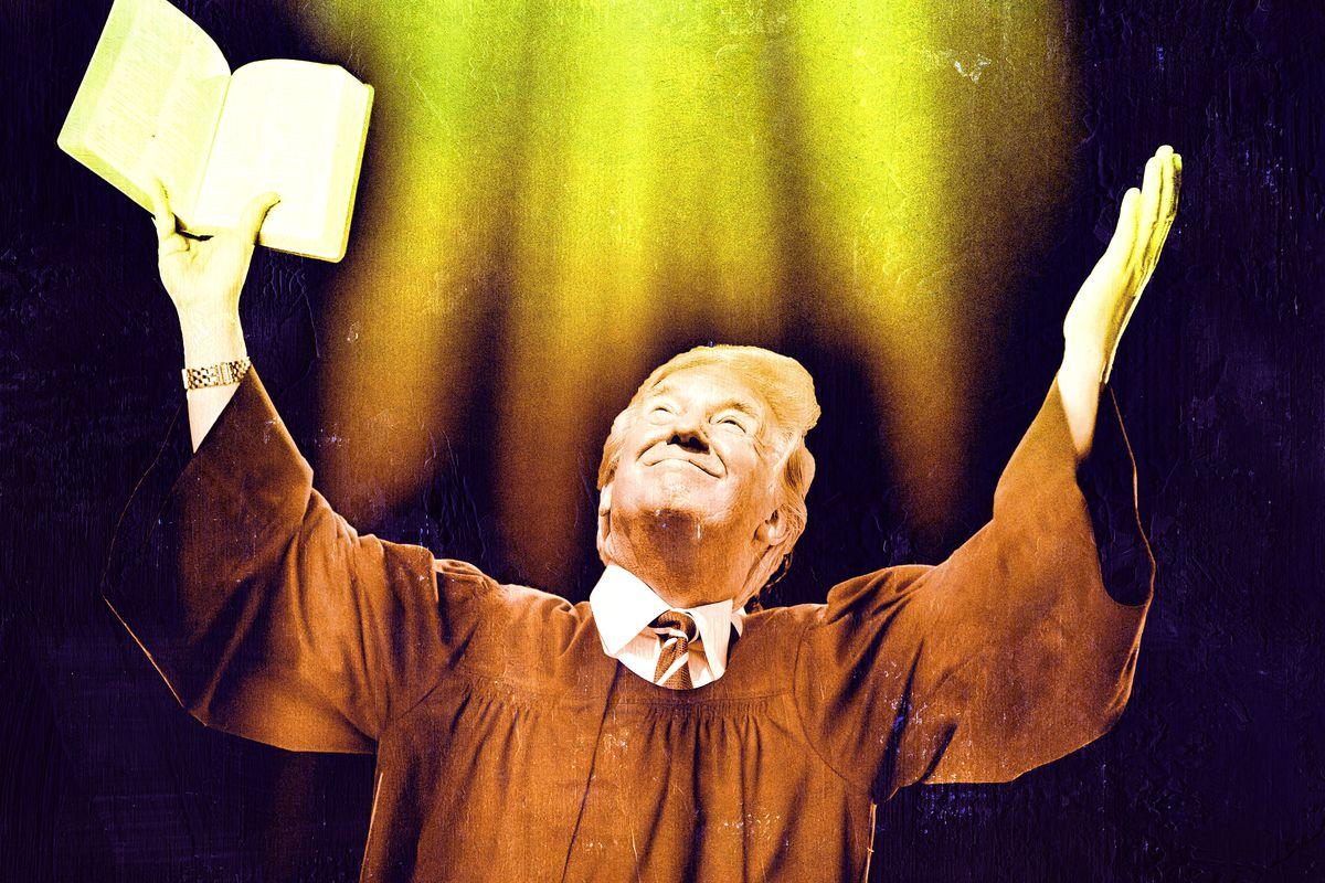 A photo illustration of President Donald Trump as a preacher