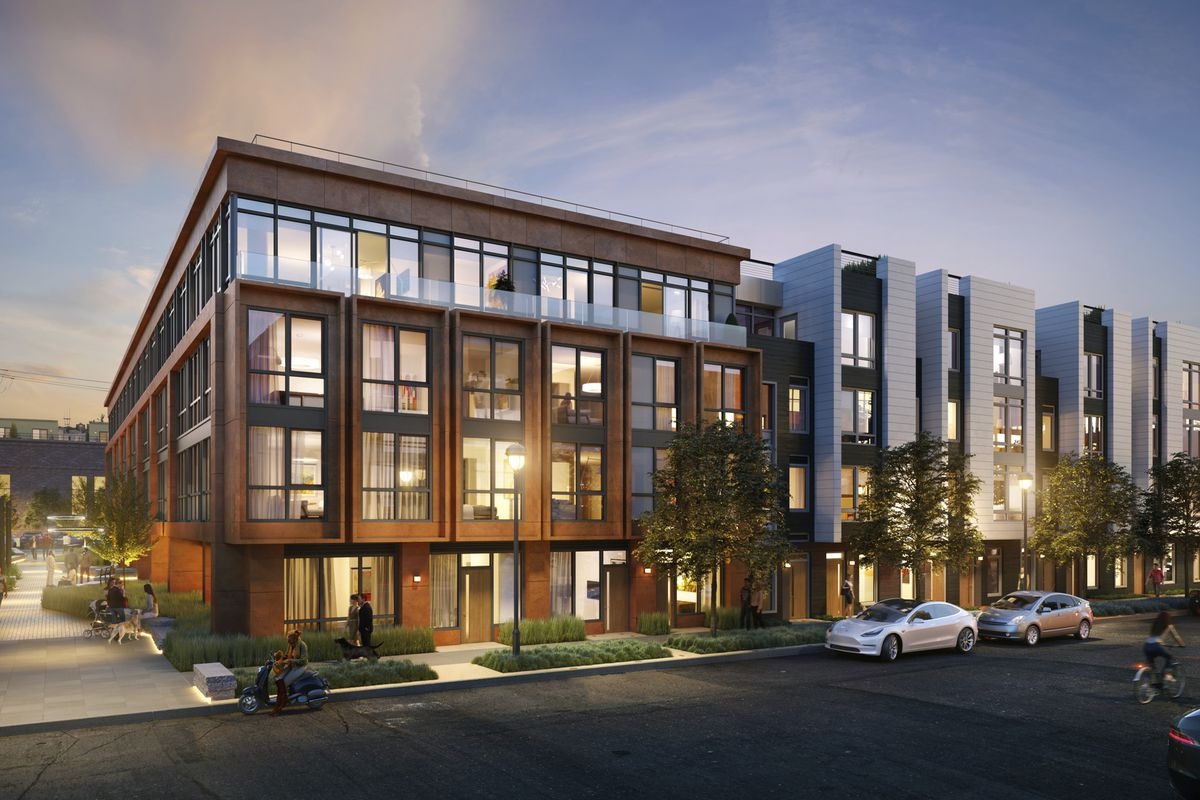 Rendering of a four-story building in the Dogpatch.