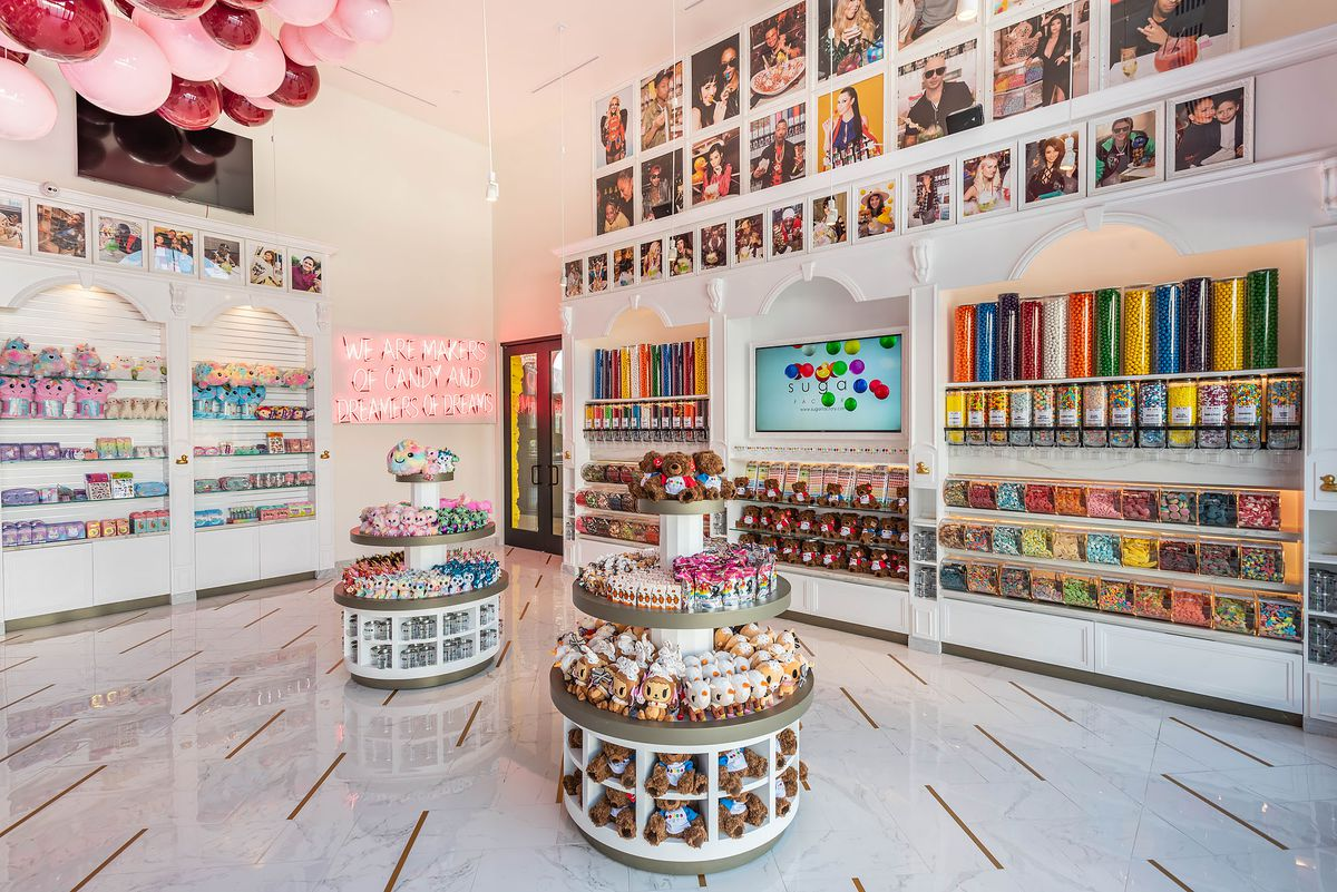 A collection of candies in a bright new retail space.