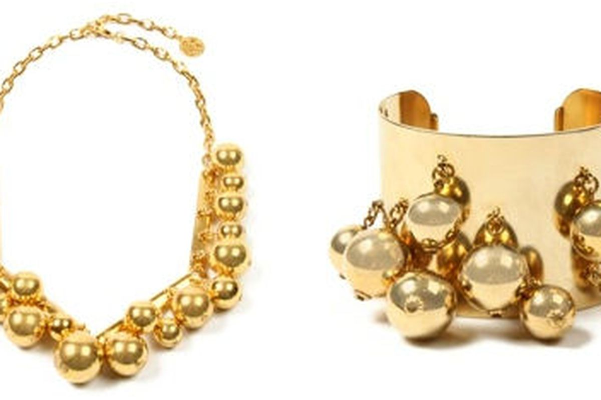 """Ben-Amun Short Gold Ball Necklace, $370 and Ben-Amun Gold Ball Cuff Cuff, $745 to be available on <a href=""""http://www.amazon.com/"""">Amazon.com</a>"""
