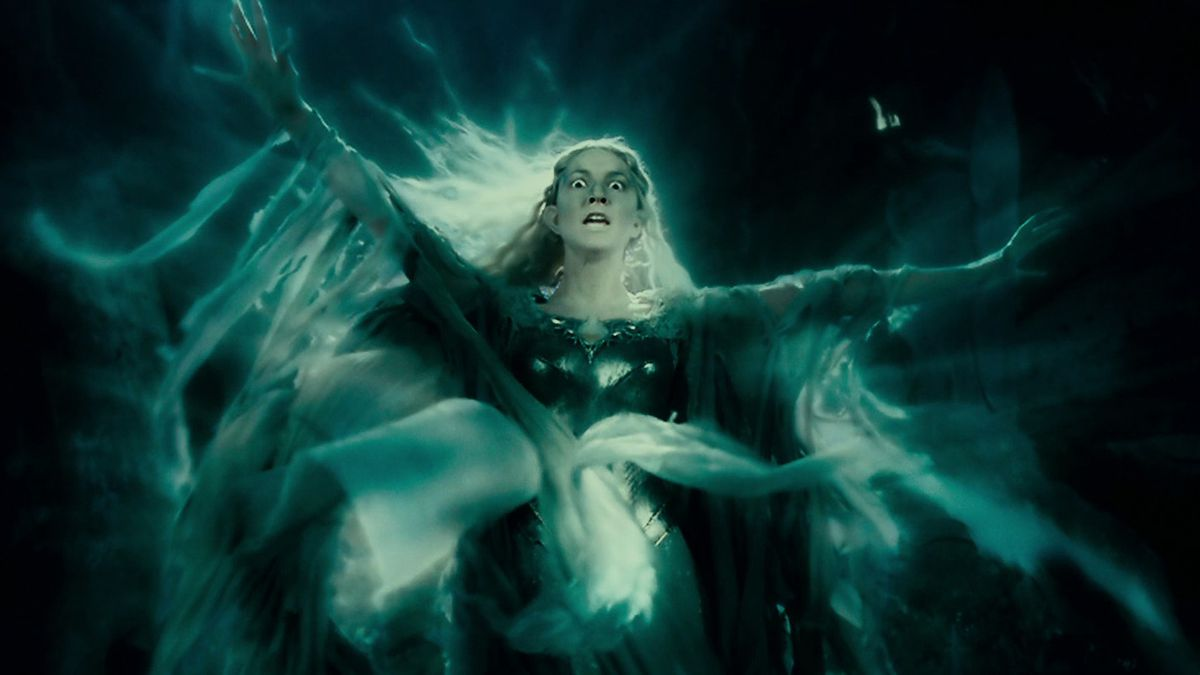 Galadriel transforms as she is tempted by the ring in The Fellowship of the Ring.