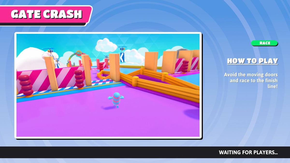 L'écran d'information Gate Crash dans Fall Guys