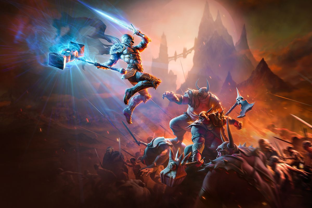 key art for Kingdoms of Amalur Re-Reckoning shows a player character leaping into battle on a dimly lit rock outcropping.