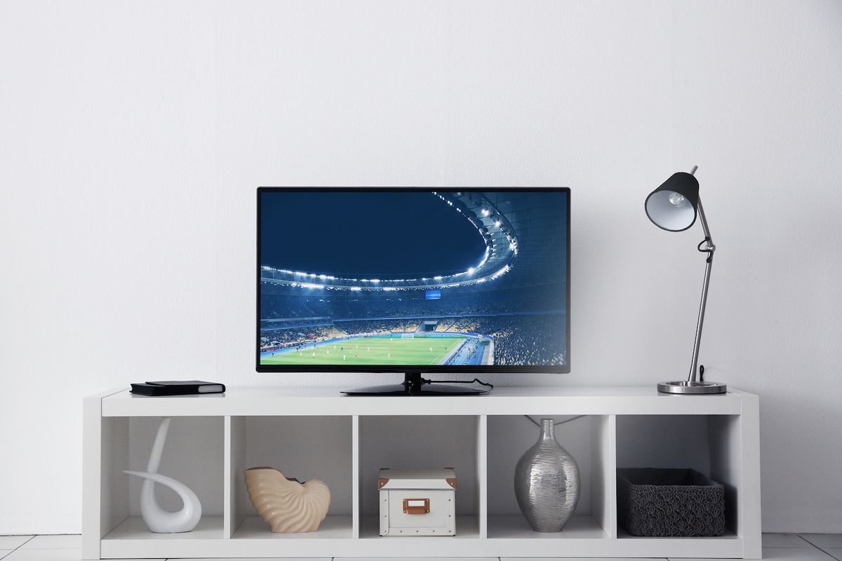 modern TV on a stand