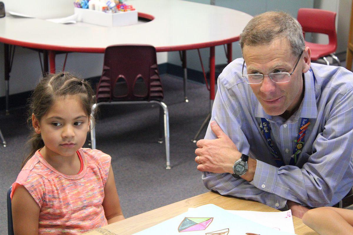 Denver Public Schools Superintendent Tom Boasberg visits a district summer camp in 2016.