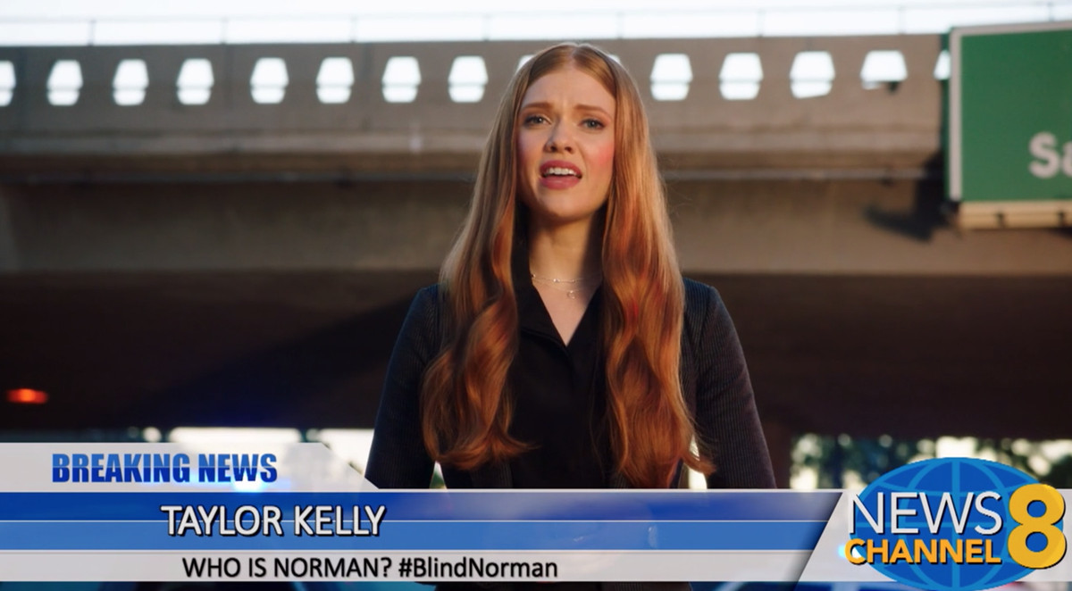 """Still of a News Channel 8 broadcast showing """"Breaking news, Taylor Kelly: Who is Norman? #BlindNorman"""""""
