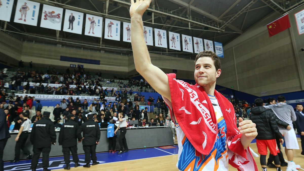 Jimmer Fredette waves to fans after the game with the Bayi Rockets in Shanghai, China, on Jan. 19, 2018. Fredette is a former BYU Cougar and now plays for the Shanghai Sharks in the Chinese Basketball Association.