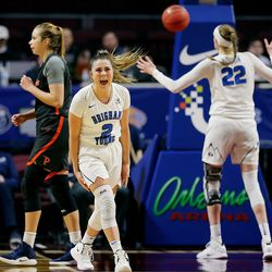 BYU Cougars guard Shaylee Gonzales (2) turns in celebration as BYU defeats Pepperdine in WCC tournament action at the Orleans Arena in Las Vegas on Monday, March 11, 2019. BYU won 69-63.